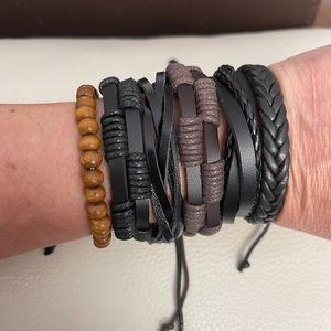 6 Genuine Leather Braided Bracelets